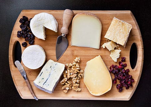 French Cheese Board with Red Wine