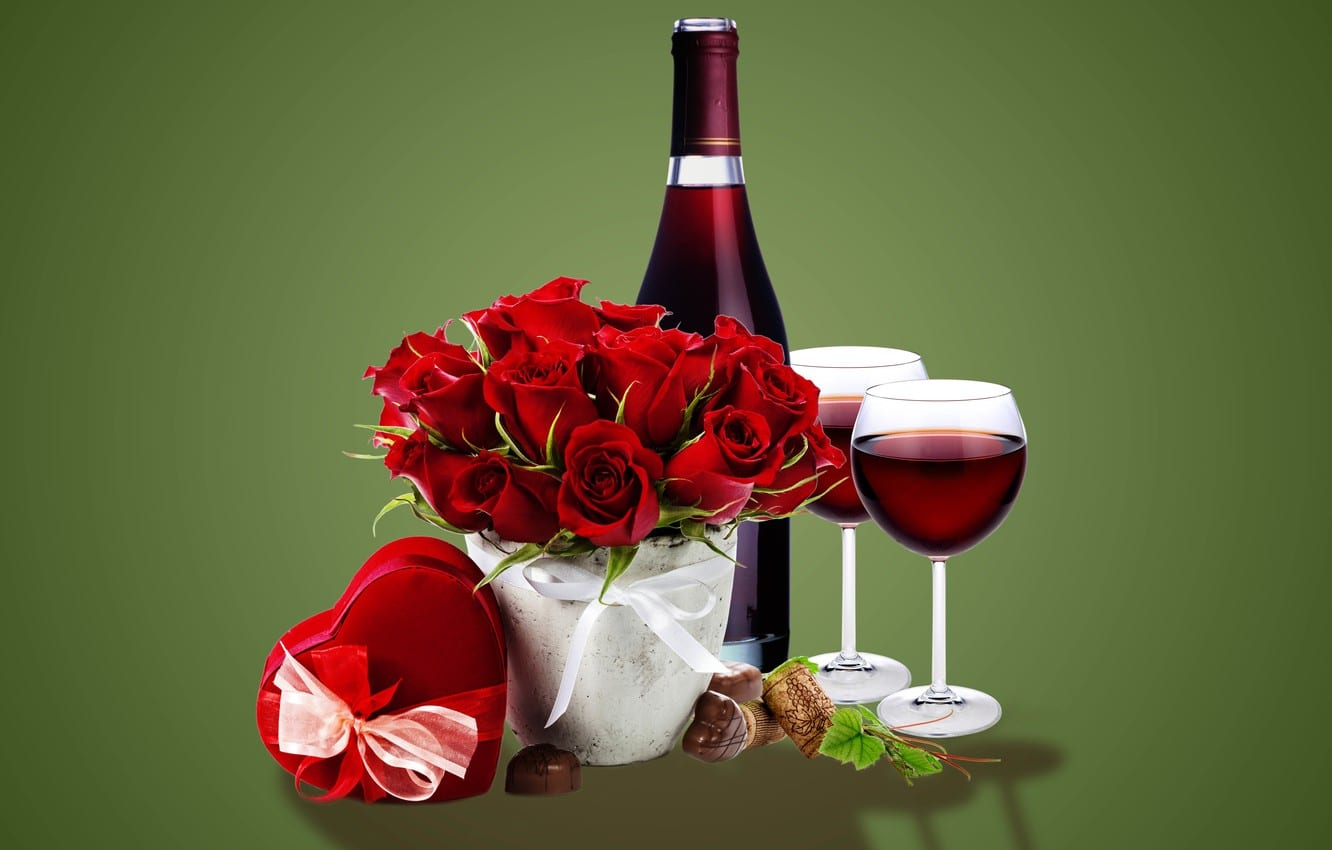 Why French Wine is the Most Romantic Valentine's Gift: Red Wine Bottle, Roses, and Chocolates