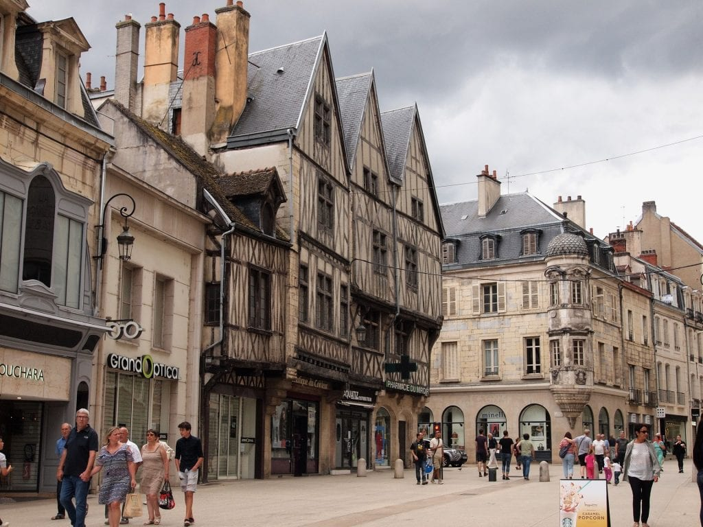 Streets of Dijon, France with Medieval Buildings