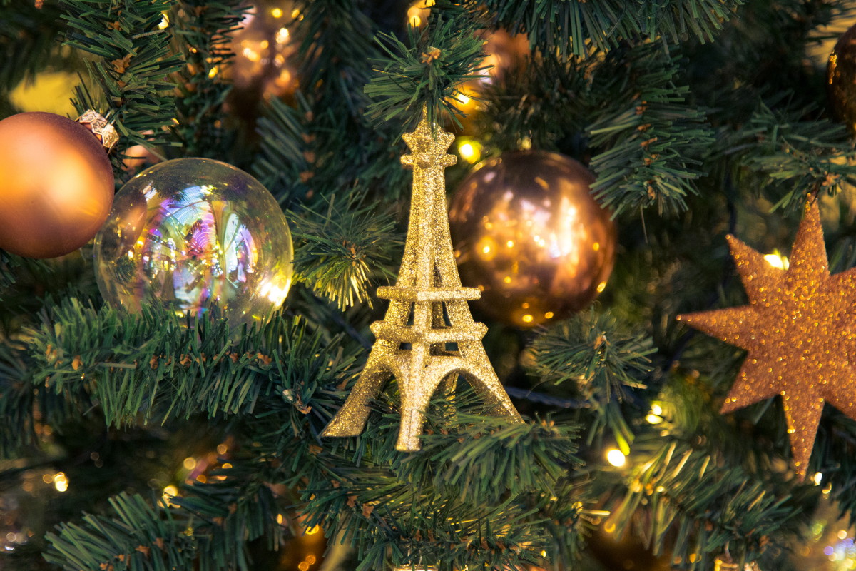 Gold Eiffel Tower Ornament on a Christmas Tree